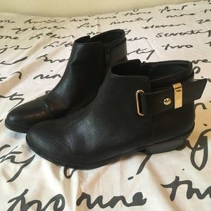 Aldo Black Leather Ankle Booties Gold Buckle Boots